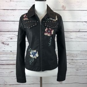 NEW BACCINI Vegan Leather Moto Jacket Petite MED